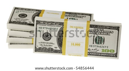 Stack of dollars,isolated on white with clipping path.