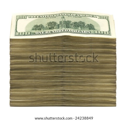 stack of dollars on white background - stock photo