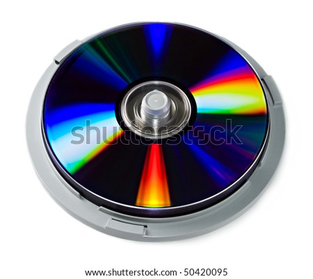 Stack of dvd disks isolated on white