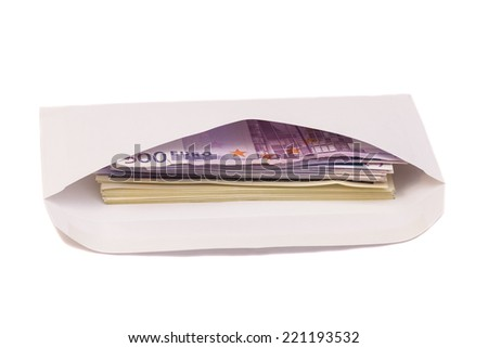 Stack of euro and dollars in open envelope isolated on white - stock photo