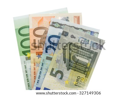 Stack of Euro banknotes isolated - stock photo