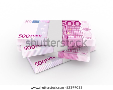 Stack of 500 euro bills isolated on white background. High quality 3d render. - stock photo