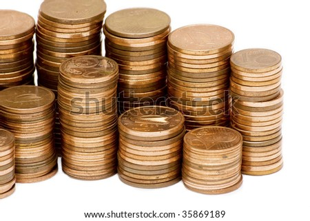 stack of euro cent coins ,  isolated on white