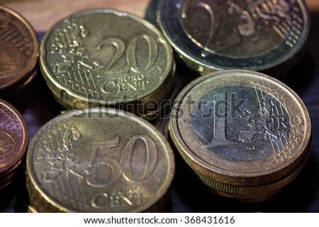 stack of euro coins - stock photo
