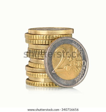 Stack of euro coins isolated - stock photo