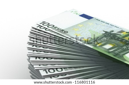 Stack of Euro concept (computer generated image) - stock photo