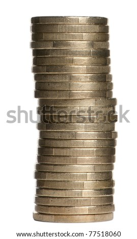 Stack of 1 Euros Coins in front of white background - stock photo
