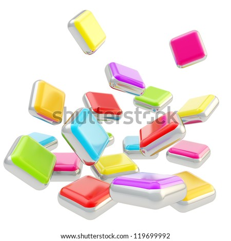 Stack of falling cube application symbolic colorful glossy plates isolated on white background - stock photo