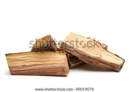 stack of fire woods isolated on white - stock photo