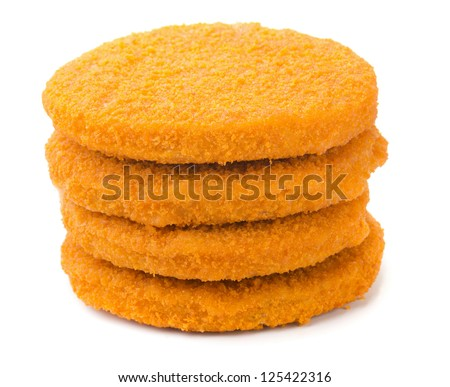 Stack of fish burgers isolated on white - stock photo