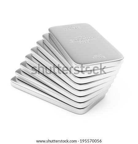 Stack of Flat Silver Bars isolated on white background - stock photo