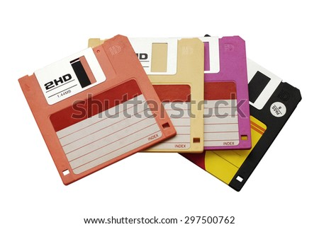 Stack of floppy disk in various colors - stock photo