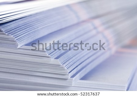 stack of flyers, selective focus - stock photo
