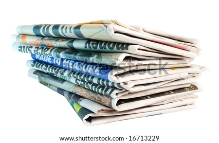 Stack of folded newspapers isolated over white background - stock photo