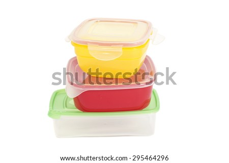 Stack of food plastic containers isolated on white - stock photo