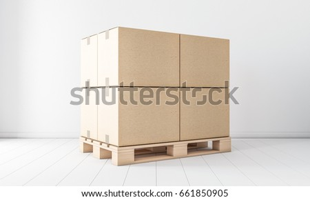 Stack Of Four Brown Cardboard Boxes Mockup On Euro Pallet In White Room 3d