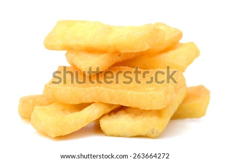 stack of fried tofu on white background  - stock photo