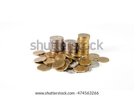 Stack of gold coins isolated on  background