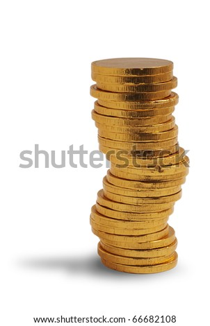 Stack of golden (chocolate) coins. Isolated on white background, saved with clipping path - stock photo