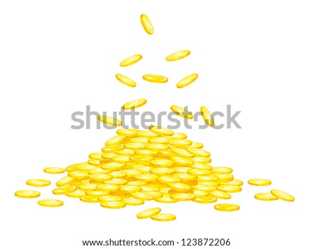 Stack of golden coins for wealth or lucky concept design. Vector version also available in gallery - stock photo
