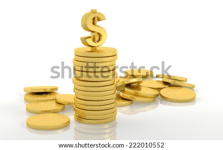 Stack of golden coins with dollar sign isolated on white - stock photo