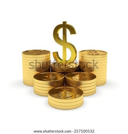 Stack of golden coins with golden dollar sign isolated on white background - stock photo