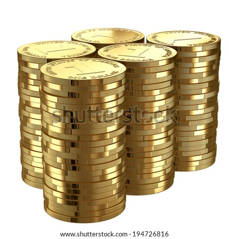 Stack of golden shinny one dollar coins isolated on white. - stock photo