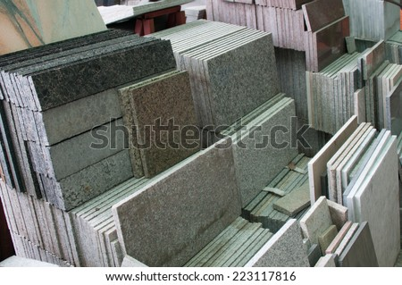 stack of granite slab - texture  design gray seamless stone abstract surface grain nobody rock backdrop construction - stock photo