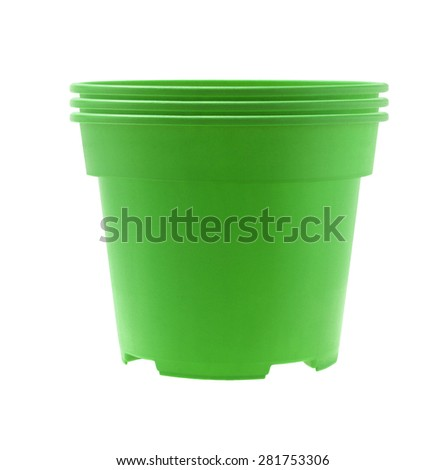 Stack of Green Plastic Flower Pots on White Background - stock photo
