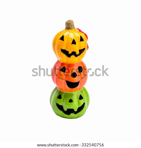stack of halloween pumpkins isolated on white background - stock photo