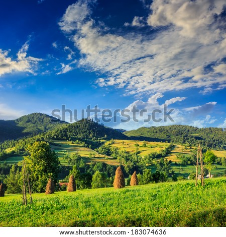 Stack of hay on a green meadow in the mountains in the morning under a blue summer sky