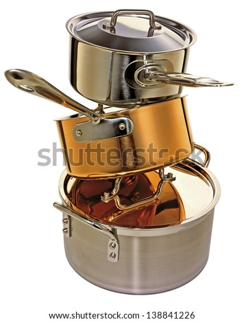 Stack of High End Cookware - stock photo