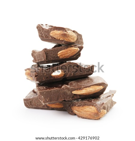 stack of homemade chocolate with almonds, isolated on white background - stock photo