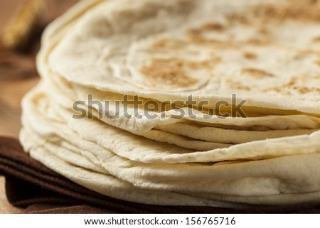 Stack of Homemade Whole Wheat Flour Tortillas  - stock photo