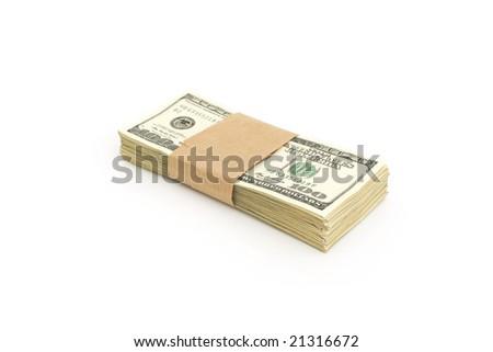 stack of hundred dollar bills against white background - stock photo