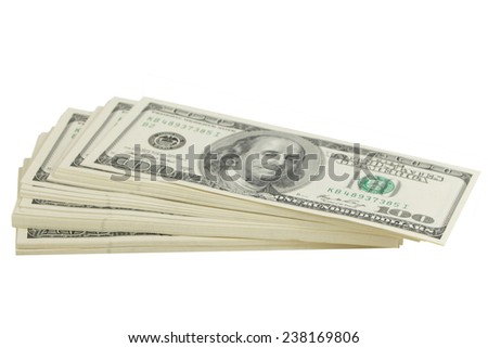 Stack of hundred-dollar bills on white background on Business and Finance
