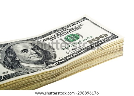 Stack of hundred dollars isolated on a white background - stock photo