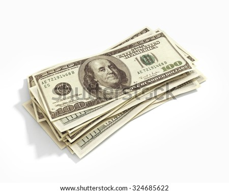 Stack of hundred dollars isolated on white - stock photo