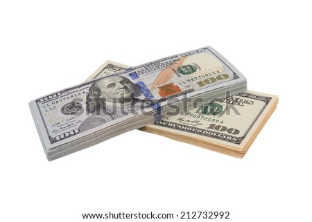 Stack of hundred dollars isolated on white background