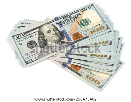 Stack of hundred dollars isolated on white close up - stock photo