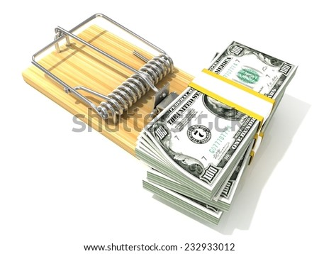 Stack of hundreds dollars, like bait, in wooden mousetrap. 3D rendering illustration, isolated on white background.