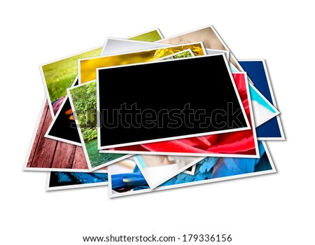 Stack of instant photographs isolated on white background. Photographs with space for your logo or text. - stock photo