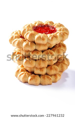 stack of  jam cookies on white background - stock photo