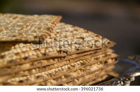 Stack of Jewish Matzoh on the Plate