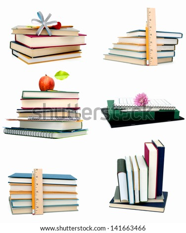 Stack of Learning school books collage - stock photo