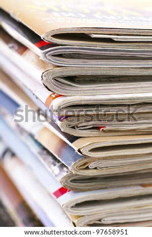 Stack of magazines,close up - stock photo
