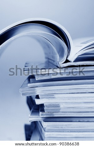 stack of magazines closeup - stock photo