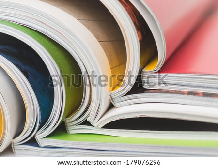 Stack of magazines up close