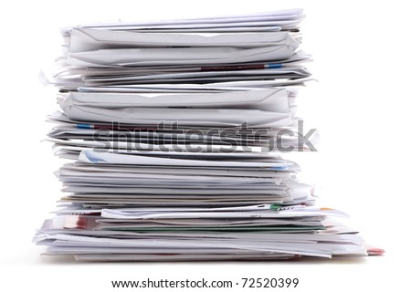 stack of mail on white background - stock photo