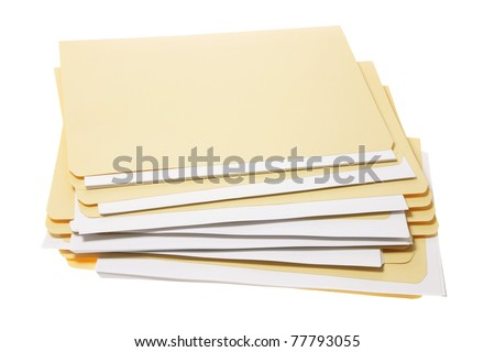 Stack of Manila Folders on White Background - stock photo